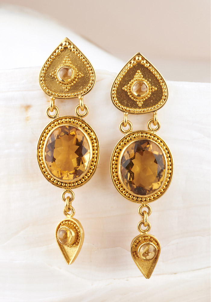 Citrine & Yellow Sapphire Earrings handmade in 22k Gold