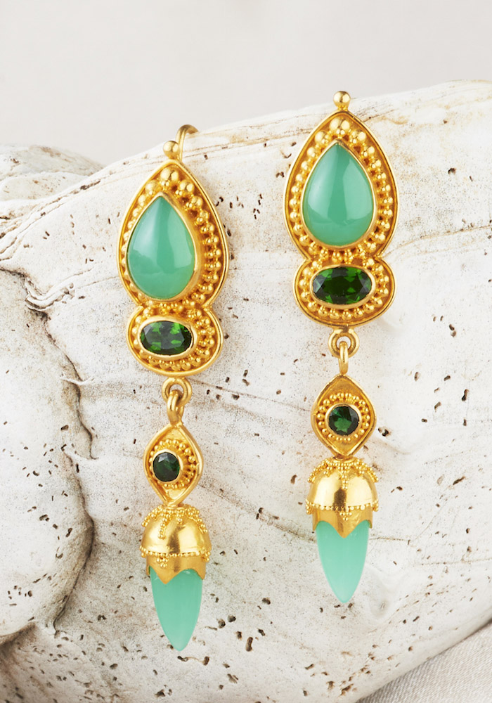 Chrysoprase & Tsavorite Garnet Earrings handmade in 22k Gold.