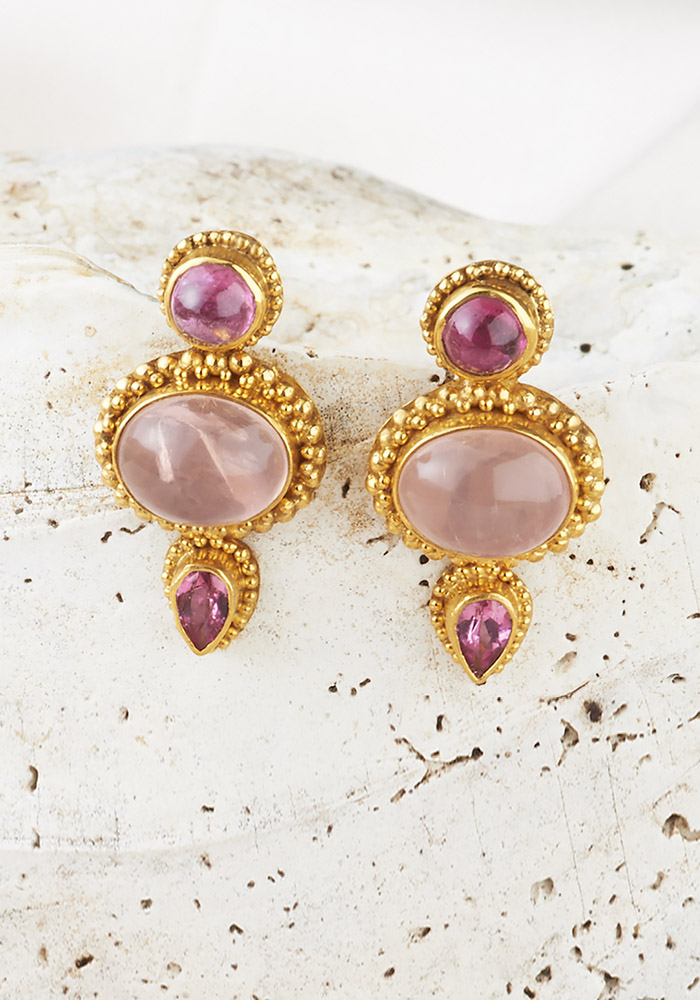 Rose Quartz & Pink Tourmaline Earrings handmade in 22k Gold