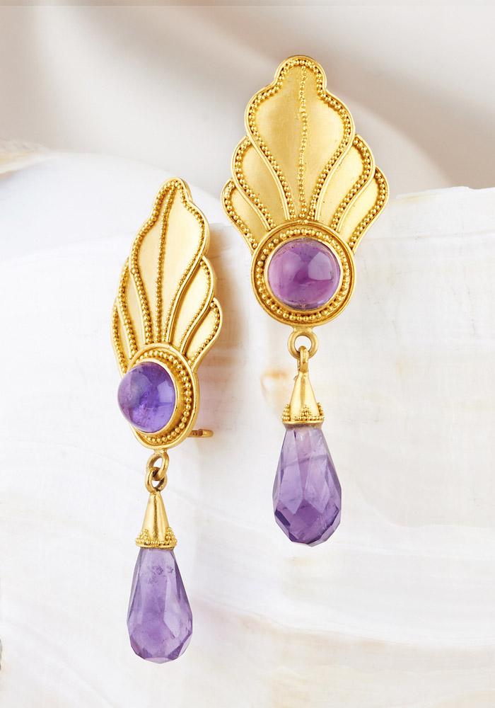 Amethyst Earrings handmade in 22k Gold