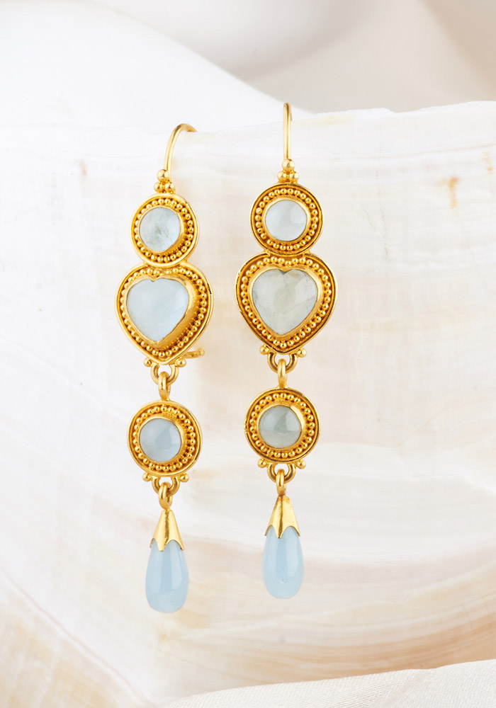 Aquamarine Earrings Handmade in 22k Gold