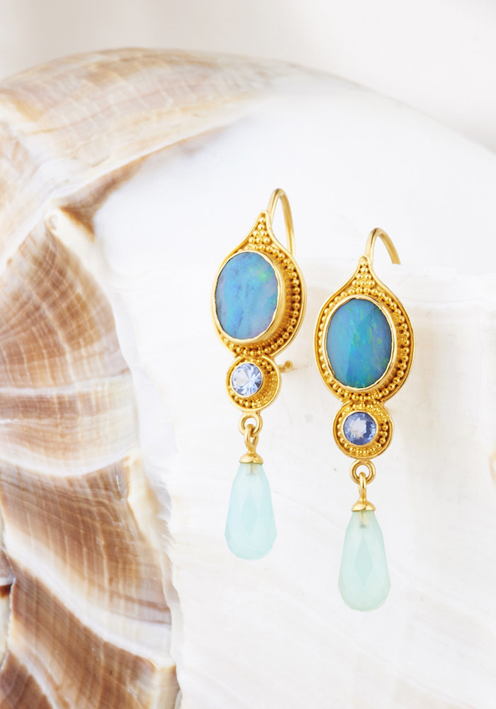 Australian Opal, Blue Sapphire with Peruvian Opal drop Earrings handmade in 22k Gold