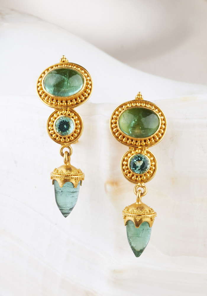 Tourmaline Earrings handmade in 22k Gold