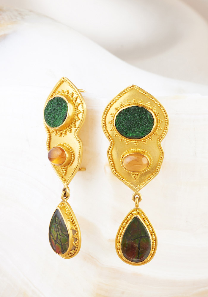 Druzy Uvarovite Garnet, Hessonite Garnet & Ammolite Earrings handmade in 22k Gold