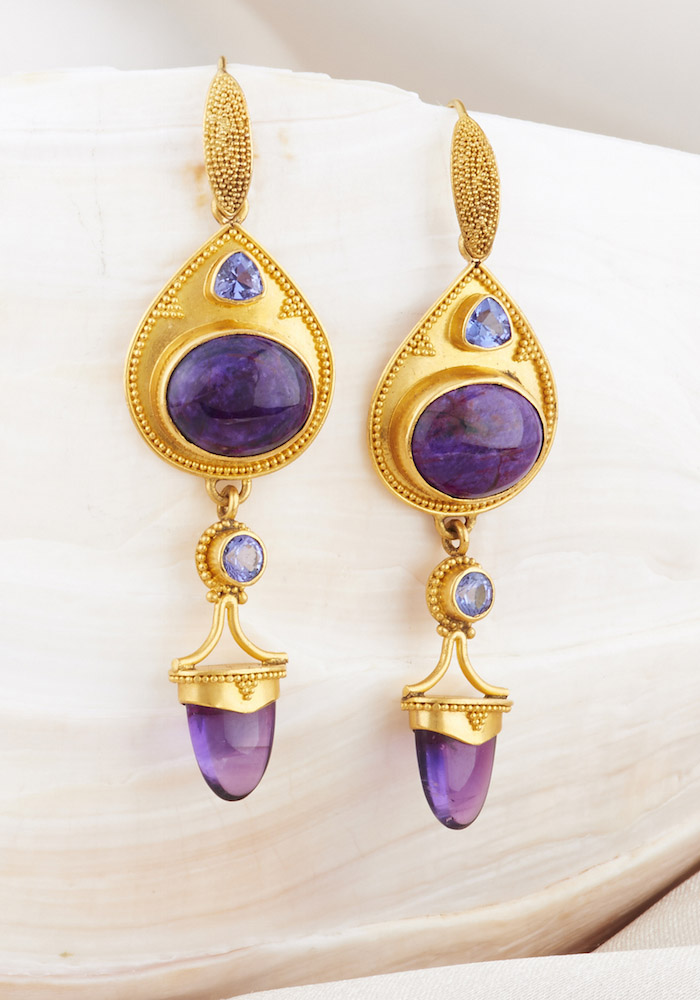 Sugilite, Blue Sapphire & Amethyst Earrings handmade in 22k Gold
