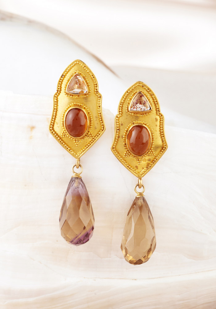 Tanzanian Sunstone, Hessonite Garnet & Smokey Quartz Drop Earrings handmade in 22k Gold