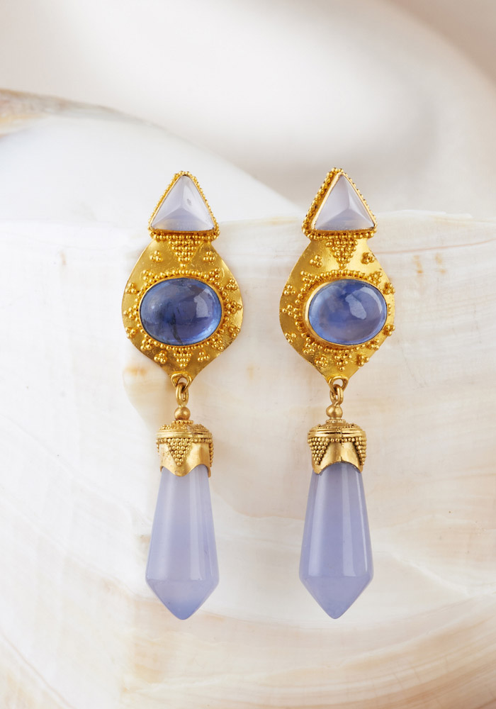 Blue Chalcedony & Blue Sapphire Earrings handmade in 22k Gold