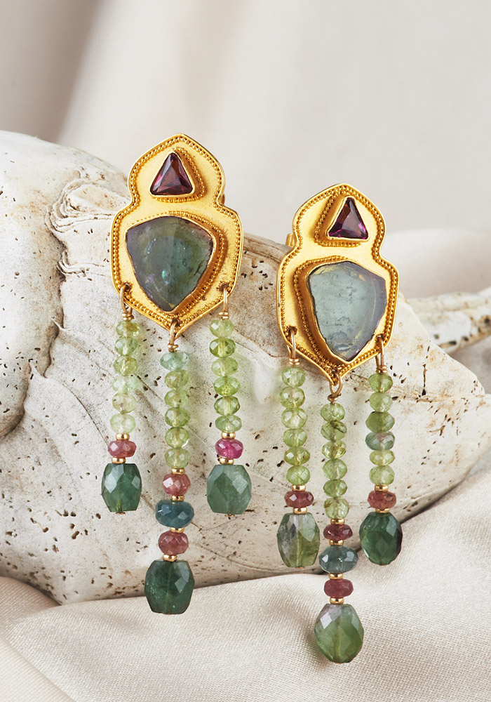 Tourmaline Slab Earrings w/ Tourmaline Beads & Garnet Earrings handmade in 22k Gold