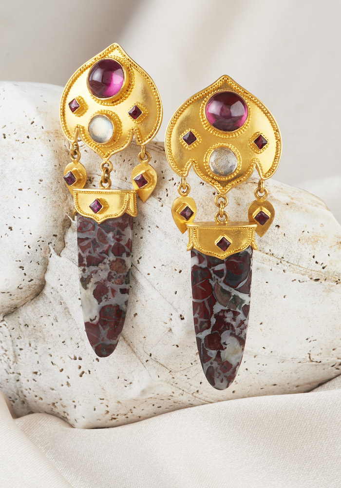 Garnet, Moonstone & Burnt Petrified Wood Earrings handmade in 22k Gold
