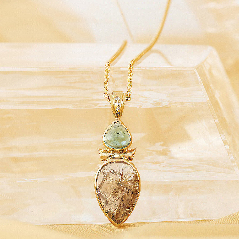 Rutilated Quartz, Tourmaline & Diamond accent Pendant handmade in 18ky Gold