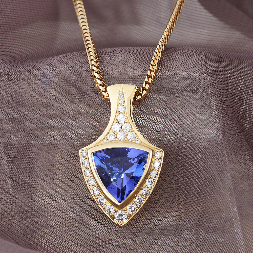 Tanzanite 4.33 ct & Diamond .75ct tw Pendant handmade in 18ky Gold