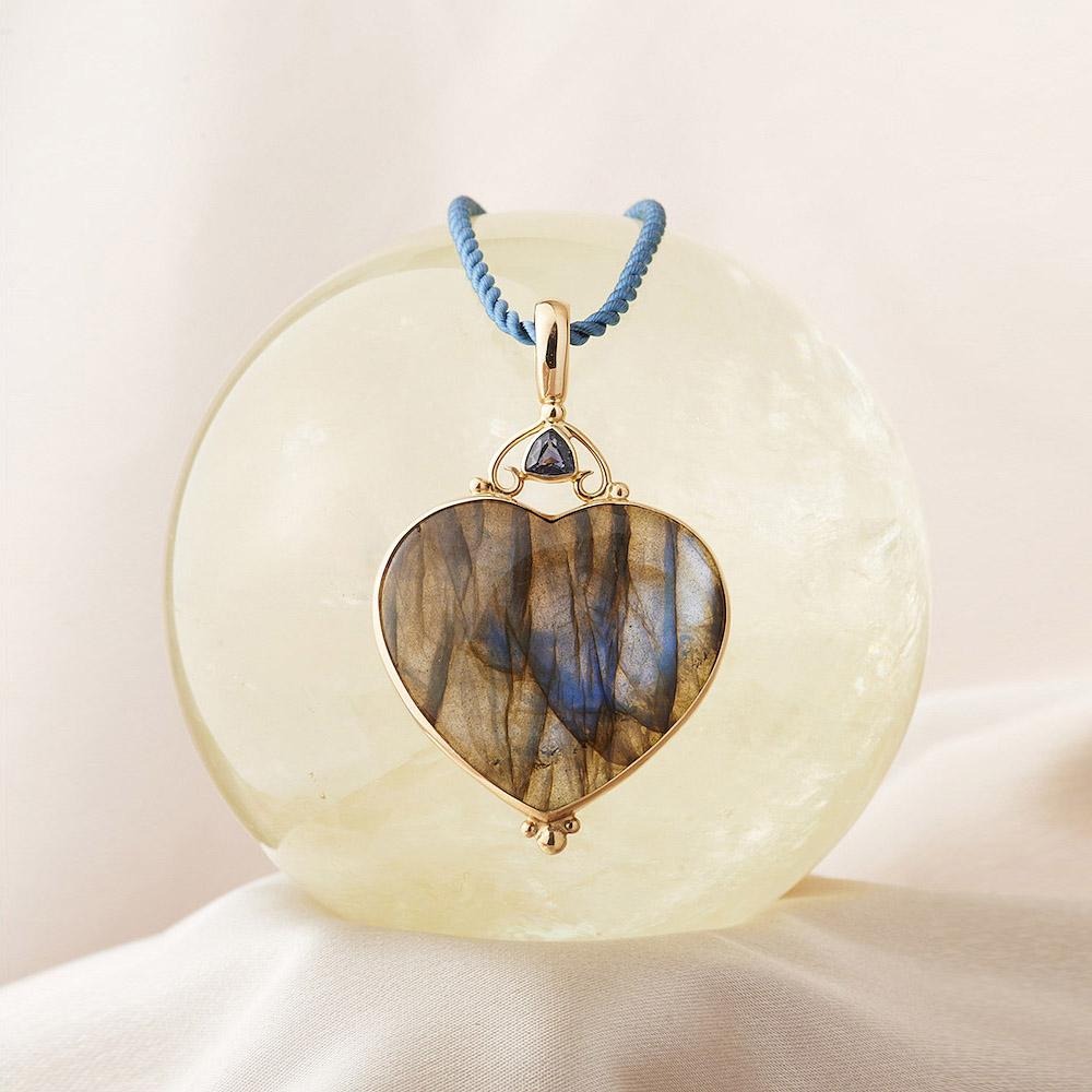 Spectrolite Moonstone & Sapphire Pendant handmade in 14ky Gold