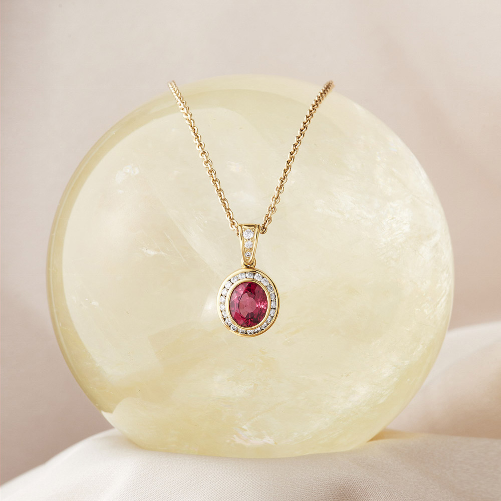 Spinel 2.11ct 7 Diamond Halo .33ct tw Pendant handmade in 18ky Gold