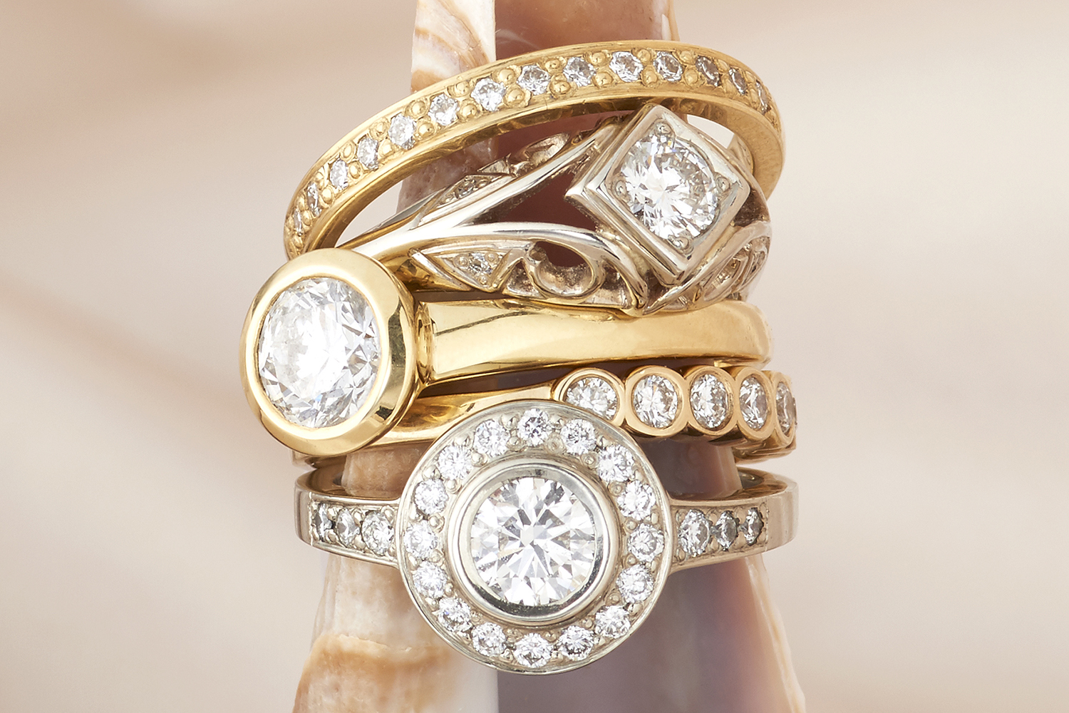 Diamond rings handmade in 18k & 14k Gold, designs by Reflections