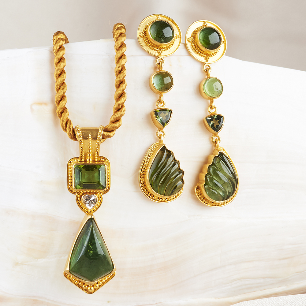 22k Gold handmade one-of-a-kind pieces, all natural gemstones, designs by Carol Randall