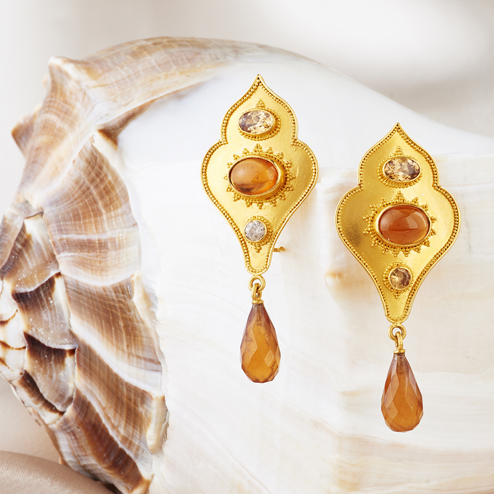 These Earrings are Carol Randall's designs handmade in 22k Gold