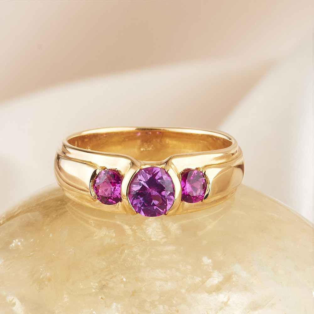 Pink Sapphire 1.05ct tw Ring handmade in 18ky Gold