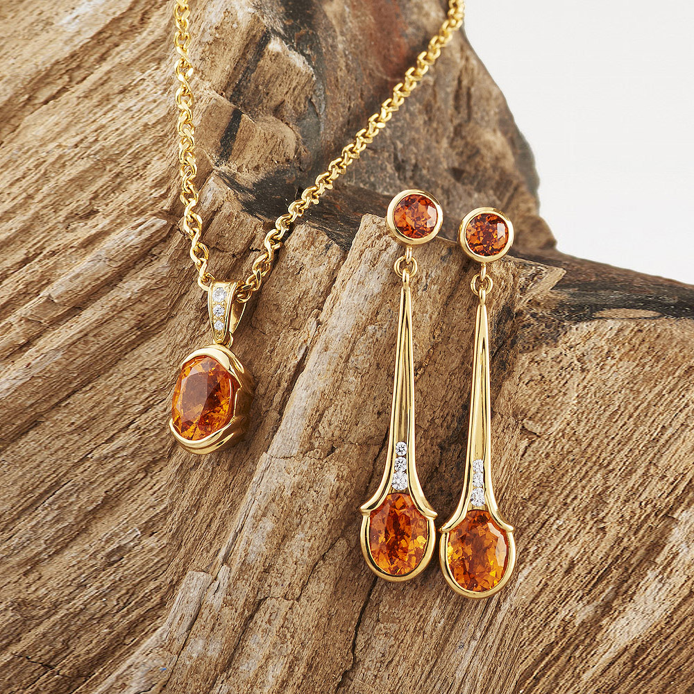 Spessertite Garnet with Diamond Accents Pendant & Earrings, handmade in 18ky Gold