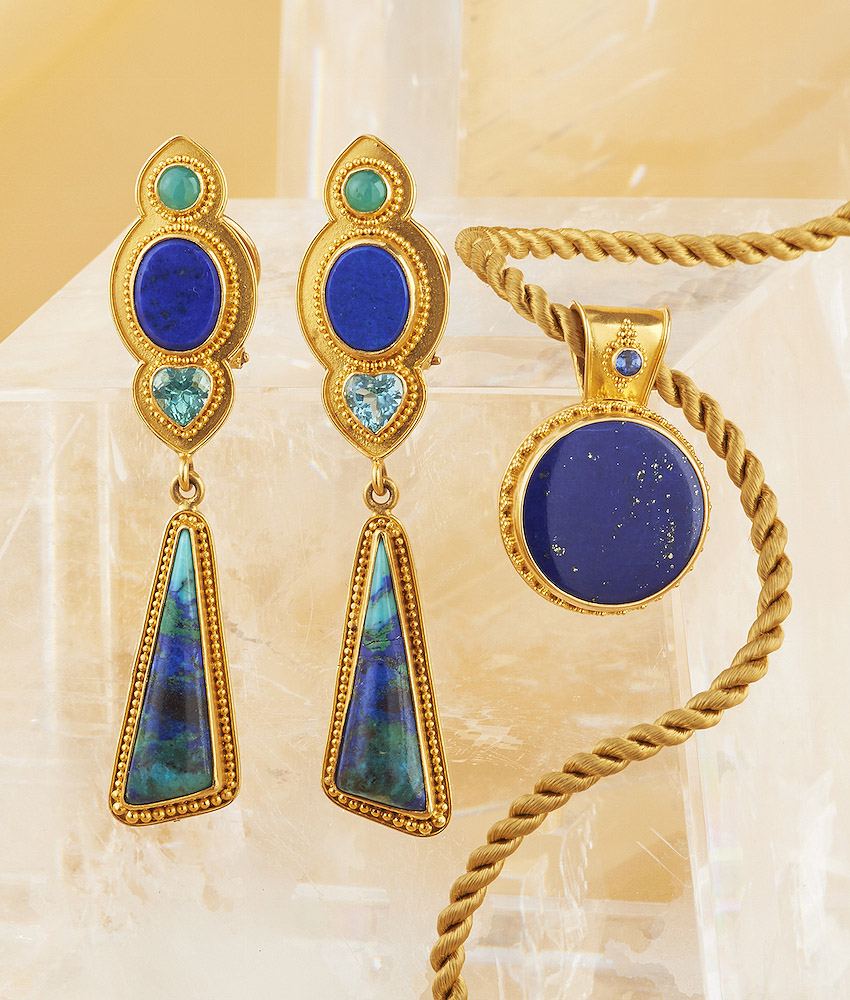 Lapis w/ Blue Sapphire Pendant handmade in 22k Gold.  The Earrings combine Lapis, Chrysocolla, Apatite, & Azurite handmade in 22k Gold