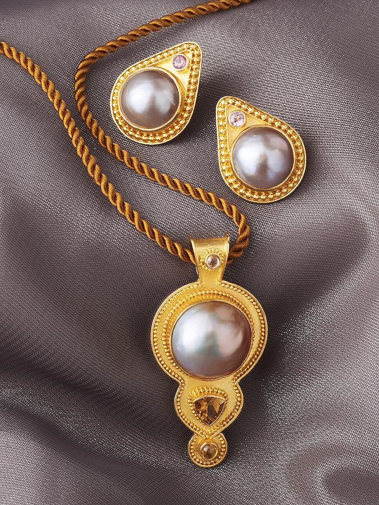 Mabe Pearl, Sapphire & Citrine Pendant handmade in 22k Gold. Mabe Pearl & Sapphire Post Earrings handmade in 22k Gold
