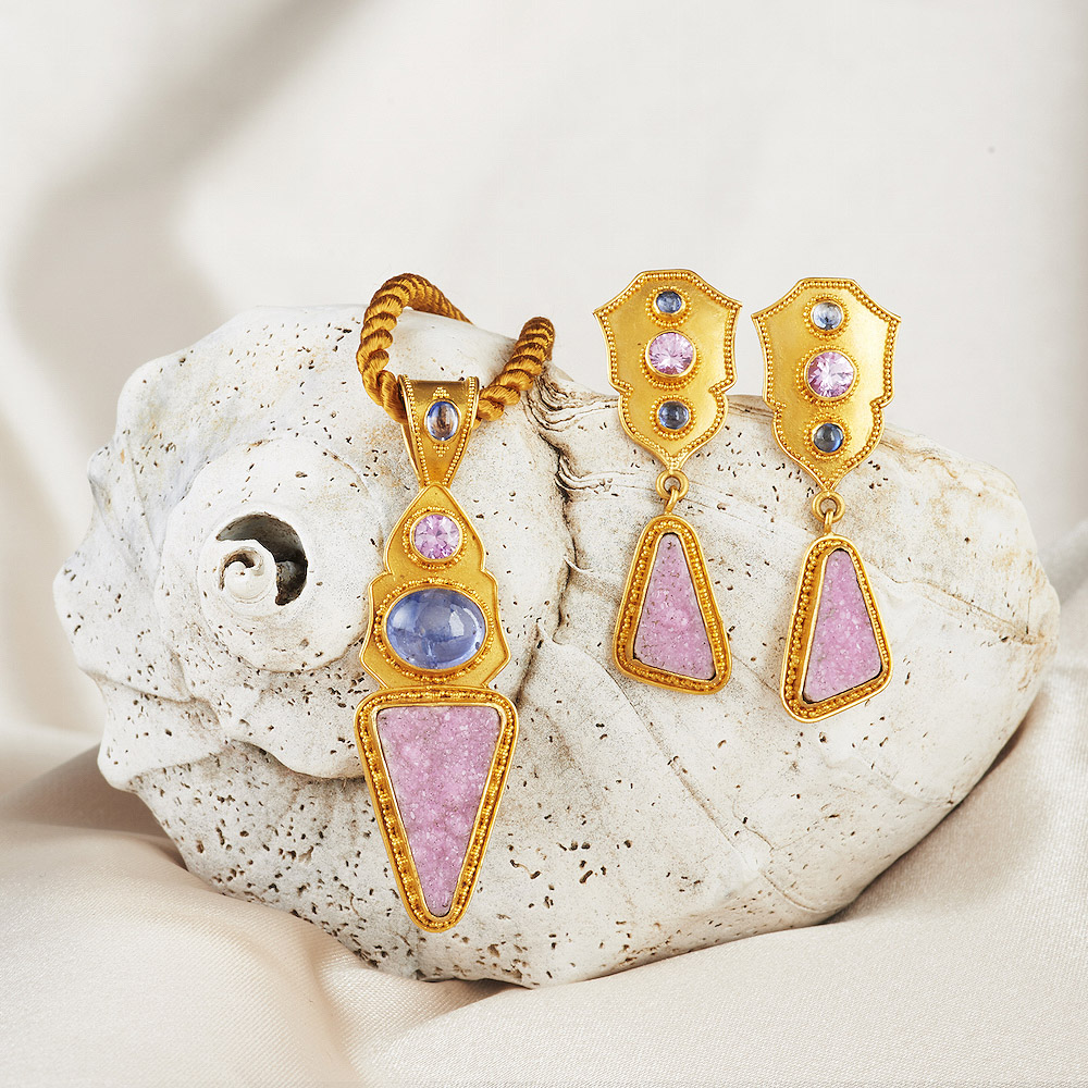 Cobaltoan Calcite Druzy, Blue & Pink Sapphire Pendant & Earrings handmade in 22k Gold.