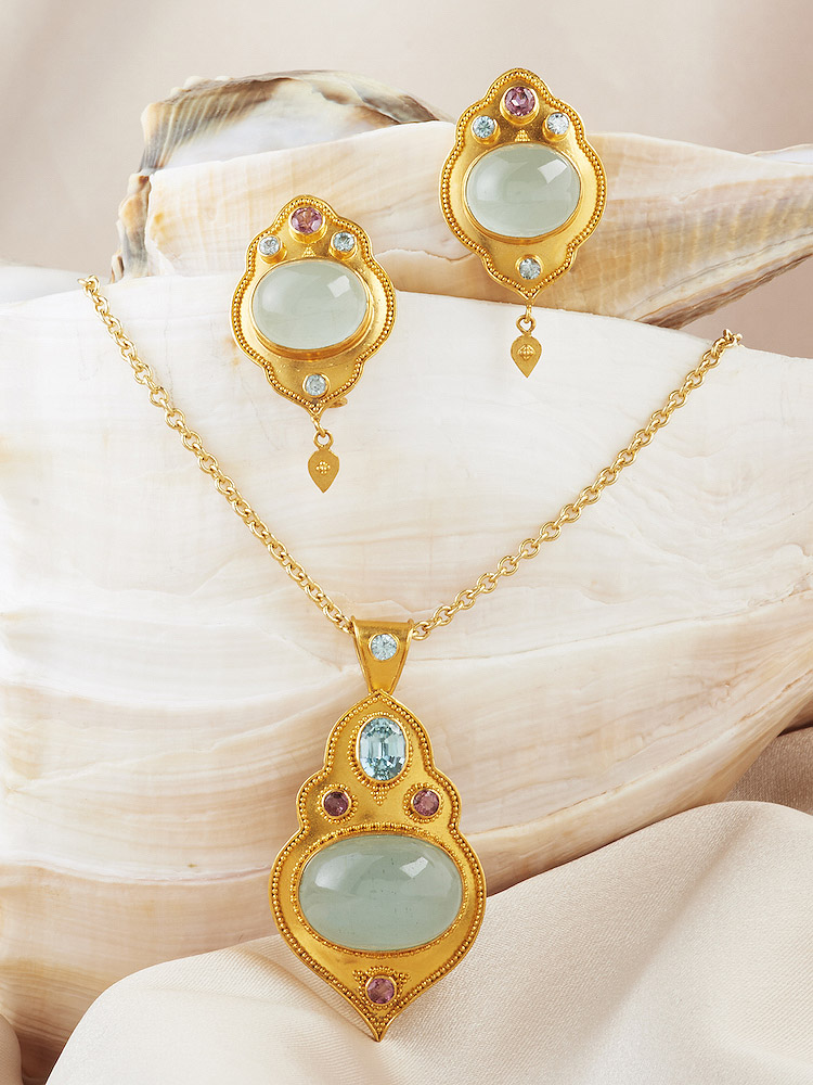 Aquamarine Cabochon with Pink Sapphire & Natural Blue Zircon accents Pendant & Earrings handmade in 22k Gold.