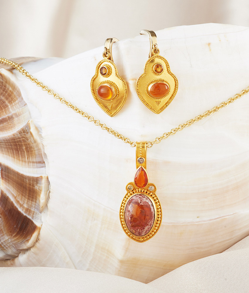 Mexican Fire Opal Pendant  w/ Champagne Diamonds handmade in 22k Gold.  Mexican Fire Opal & Sapphire Earrings handmade in 22k Gold.