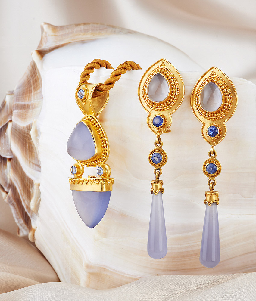 Blue Chalcedony with Blue Sapphire Pendant & Earrings handmade in 22k Gold.