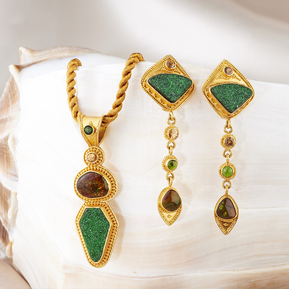 Druzy Uvarovite Garnet, Fire Agate, Tsavorite Garnet and Zircon Pendant & Earrings handmade in 22k Gold.