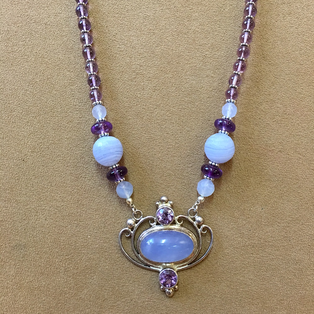 Blue Chalcedony and Amethyst Necklace