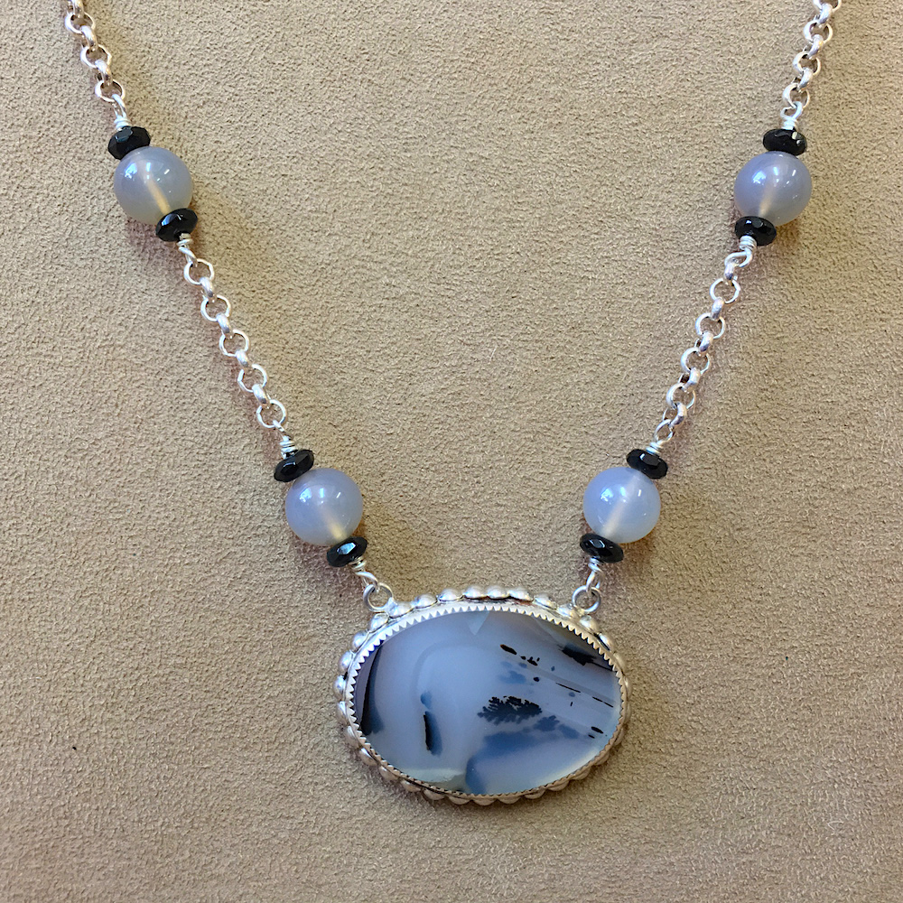 Agate, Moonstone and Spinel Necklace