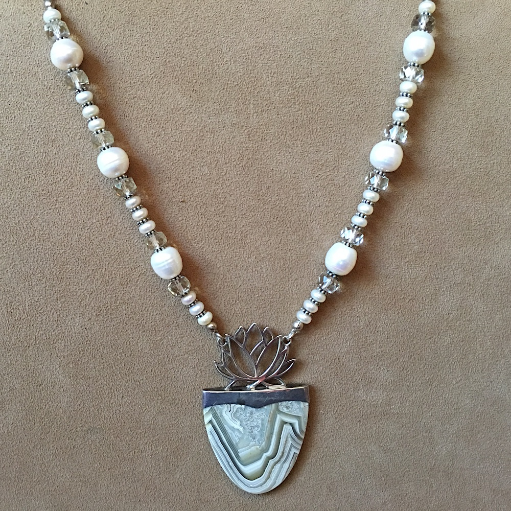 Agate and Pearl Necklace