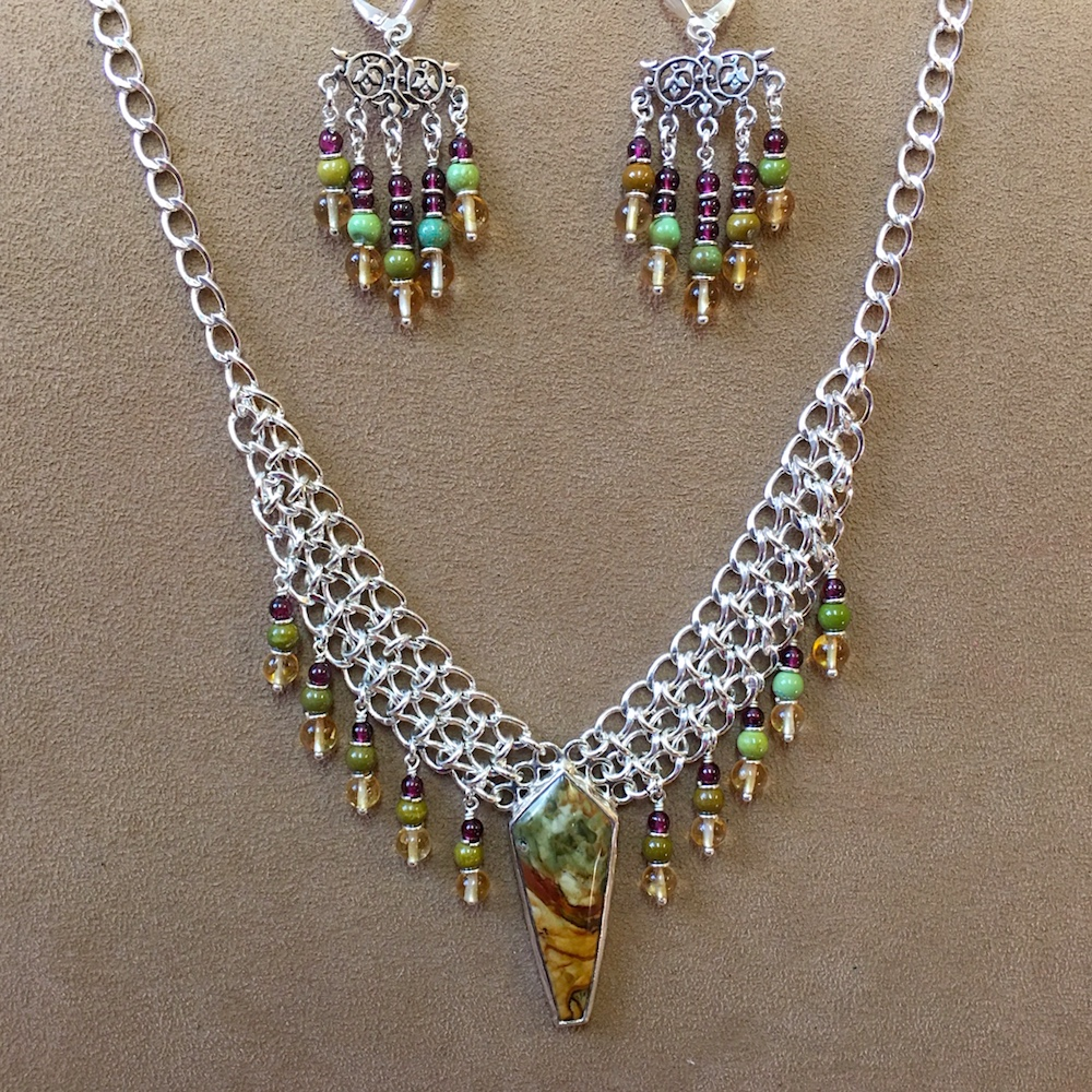 Jasper Necklace and Earrings Set